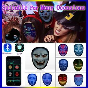 LED Halloween FULL FACE Mask Glowing Programmable App Control Horror Scary Mask!