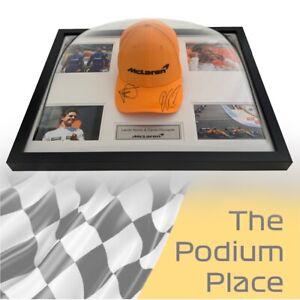 McLaren 2021 F1 Signed by Lando Norris & Daniel Ricciardo Framed Papaya Cap 🤩😎