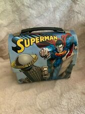 Superman Tin Lunchbox- Collectible- Superman Domed Lunch Tote Used Vintage