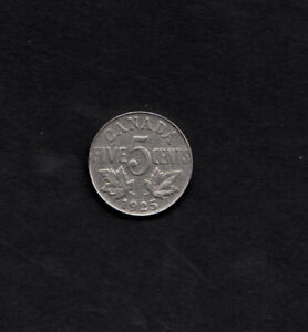 CANADIAN 5 CENT 1925, V.G. CONDITION