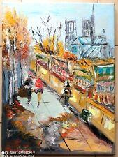 PARIS NOTRE DAME DE PARIS   ART TABLEAU PEINTURE SIGNE JUMEAUX JEAN PIERRE