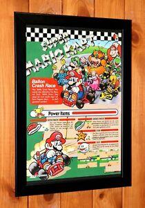 1992 Super Mario Kart SNES Vintage Small Promo Poster  / Ad Page Framed