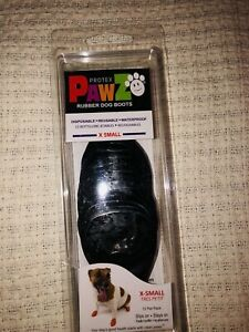 PawZ Protex Dog Boots Water-Proof Paws Disposable Reusable X-Small BLACK NIB NEW