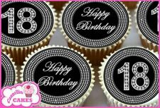 24 x 18TH HAPPY BIRTHDAY BLACK & DIAMOND EDIBLE CUPCAKE TOPPERS RICE PAPER 8368