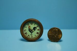 Dollhouse Miniature Country Rooster Kitchen Wall Clock with Wood Frame G7719