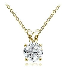 Gold Tone on Sterling Silver 1.25ct Cubic Zirconia 7mm Round Solitaire Necklace