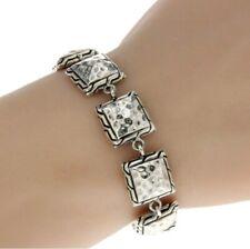 ¦925 Solid Sterling Silver Hammered Square Bali Women's Bracelet Size 5 1/4 »B21
