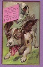 0317G VTG TRADE CARD HARTMAN'S BOOKSTORE ASHLAND PA CRAZY DOG  PAIL TIED TO TAIL