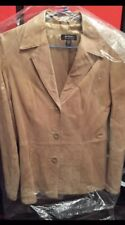 Soft Suede Fitted Jacket Just Jeans Light Honey Size 8-10 Small 100% Suede