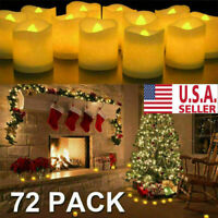 24/48/72PC Flameless Votive Candles Battery Operated Flickering LED Tea Light US