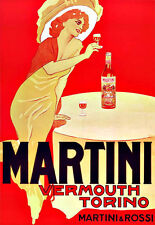 MARTINI VERMÚ TORINO ART AD Bebidas Trago Deco cartel impresión
