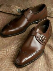 Handmade Men Wing tip brogue leather shoes, Men formal monk shoes, Men shoes