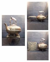 Vintage Brass Trivet And Brass Kettle With Ceramic Handle,Fireplace,fireside