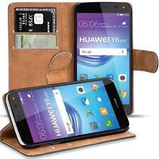 Handy Hülle für Huawei Y6 2017 Case Schutz Tasche Cover Flip Schwarz Bookcase