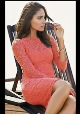"BNWT "" NEXT "" Size 12 Petite Coral Lace Dress (40 EU) Wiggle Fitted Vintage New"