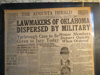 Oklahoma History Newspaper 1923 LAWMAKERS DISPERSED BY MILITARY STATE HOUSE