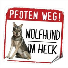 Auto Aufkleber REFLECTIVE WOLFHUND Wolf Saarloos PFOTEN WEG Hunde  SIVIWONDER
