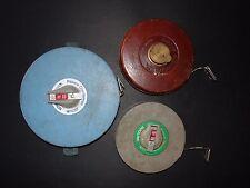 3 Vintage Winding Tape Measures Builder/Surveyor