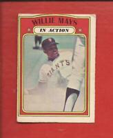 1972  OPC  # 50  WILLIE MAYS  In Action   San Francisco Giants   VG
