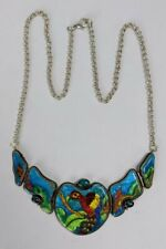 Unique Sterling Silver Necklace With Enamel Parrot Handmade