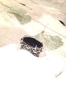 Gothic Deco Genuine Smoky Quartz Vintage 925 Sterling Silver Ring