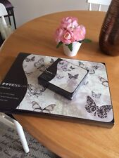 Set Of 6 Shabby Chic Theme Cream Butterfly Place Mats And Coasters