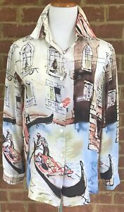 Vintage Michael Leu Shirt Medium Women's Silk Blouse Wearable Art