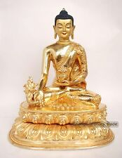 """Finely Carved Face Painted 10.75"""" Medicine Buddha Copper Gold Gilded Statue"""