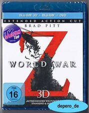 """""""WORLD WAR Z"""" - Zombie Horror - Brad Pitt - 3D + 2D BLU RAY + DVD - 3-Disc-Set"""