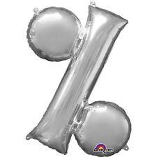 """Simbolo% PER CENTO ARGENTO Foil Balloon 16"""" 40cm Aria Riempire Età Compleanno Anniversario"""