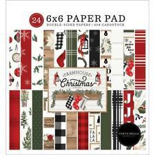 Crafts CB 6X6 Paper Pad Farmhouse Christmas Plaid Snowflakes Lanterns Stockings