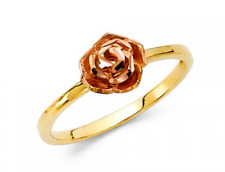 Flower Ring 14k Yellow Rose Gold Two Tone Band