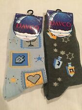 NWT 2 Pairs Womens DAVCO HANUKKAH Socks, Gray, Light Blue, Dreidels, Size 9-11