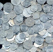 INDIA DEFINITIVE MIXED 100 COINS LOT ALUMINIUM LOT, 1, 2, 5, 10, 20 UNC/AUNC/XF