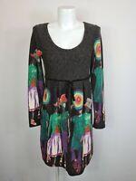 Dark Grey Long Sleeve Knit A-Line Pleated Dress Women's Sz. M Velvet Trim People