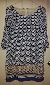 Women's OLD NAVY 3/4 Sleeve Shift Dress Blue White Black Size Large