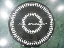 "12"" Black Marble Coffee Table Top Marquetry Inlay Cafeteria Decorations H4343"