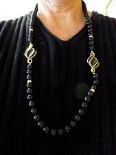 "VTG-1970's-80's-NAPIER Black Bead 29"" Necklace w/Black Enamel Metal Spacers"