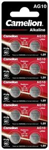 AG10, LR1130, LR54, Knopfzellen Batterien Alkaline 1,5V Camelion im 10er-Pack