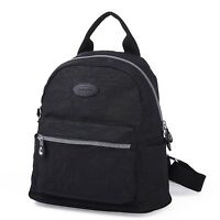 Lily & Drew Nylon Mini Casual Travel Daypack Backpack Purse (Black)
