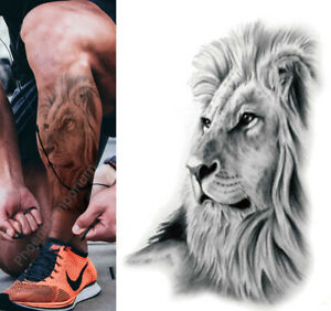 Temporary Tattoo Large English Lion Fake Body Art Sticker Waterproof Ladies Mens