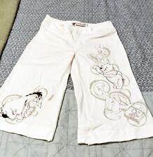 Disney Store Women's Capri Jeans Size 4 Winnie the Pooh White Denim Stretchy