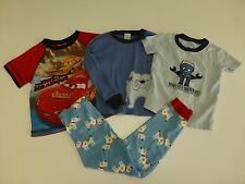 4 Piece Gymboree Carters Disney Boys 5 Pajama Shirts & Pants Lot Great Condition