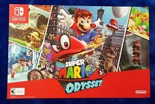 "Super Mario Odyssey Nintendo Switch Double Sided Promo Poster 11""x17"" GameStop"