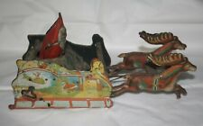 RARE Vintage Ferdinand Strauss Santee Claus Mechanical Toy Wind Up Tin Litho