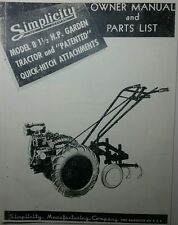 "Simplicity 1947 Model ""B"" Garden Tractor & Implement Owner & Parts Manual Ward"