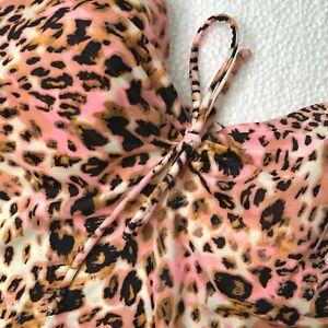 38B Victorias Secret Tankini Swim Top Underwire Pink Brown Black Animal Print