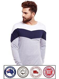 Round Neck Long Sleeve Cotton T-Shirt - Blue Stripe