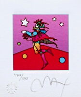 "Star Catcher, Ltd Ed Lithograph (Mini 3.5"" x 3""), Peter Max - SIGNED with COA"
