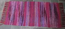 Vintage Rag Rug Hand Woven, Shades of Pink & Lilac 100% Cotton ~ 6 feet x 3 feet